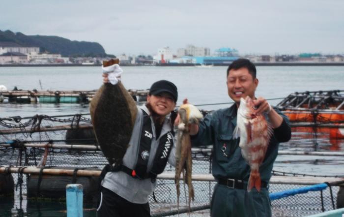 6月20日 大阪 神林さん、丹波 小柴氏  ヒラメ 60? タイ 55? タコ (外の浜カセ) (2)