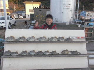12月29日 大阪 木通井真君 カワハギ、ウマズラ 15?30? 16匹 (外の浜カセ)